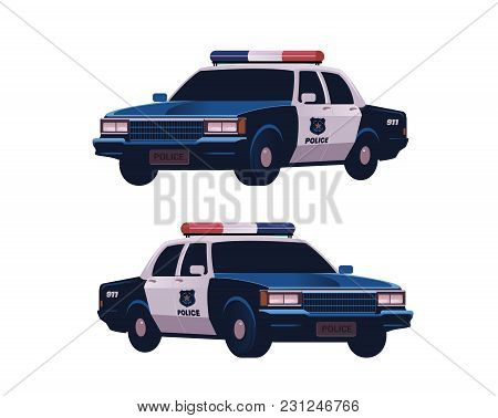 Retro Police Cars Set. Isometric View. Police Transport Isolated On The White Background