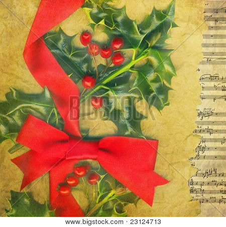 Christmas card with holly and red bow