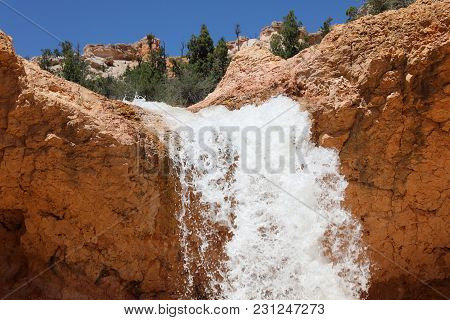 Mossy Cave Falls In Bryce Canyon National Park. Utah. Usa