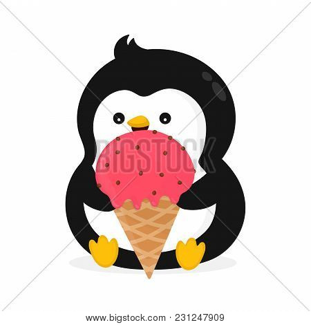 Funny Happy Cute Smiling Penguin Is Eating Ice Cream. Vector Flat Cartoon Character Illustration Ico