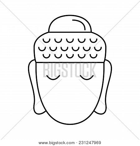 Buddha Head Icon. Outline Buddha Head Vector Icon For Web Design Isolated On White Background