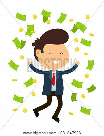 Young Happy Funny Smiling Businessman Man Jump. Rain Out Of Money And Coins. Vector Flat Cartoon Cha