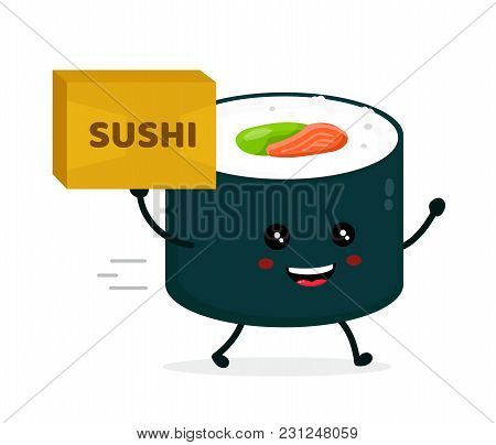 Happy Cute Smiling Funnu Sushi Roll With  Parcel. Sushi,asia Food Delivery Concept. Vector Flat Cart