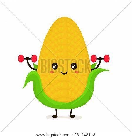 Funny Happy Cute Smiling Corncob Doing Exercises With Dumbbells. Vector Flat Cartoon Character Illus