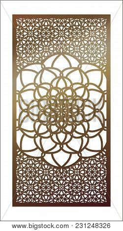 Vector Template Laser Cut Panel. Openwork Pattern With Mandala For Decorative Panel. Wall Panels Or