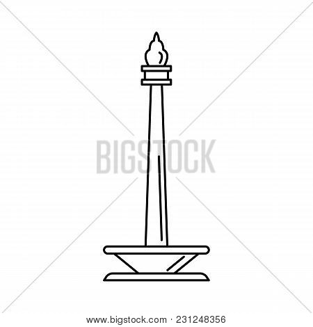 Indonesian Monument Icon. Outline Indonesian Monument Vector Icon For Web Design Isolated On White B