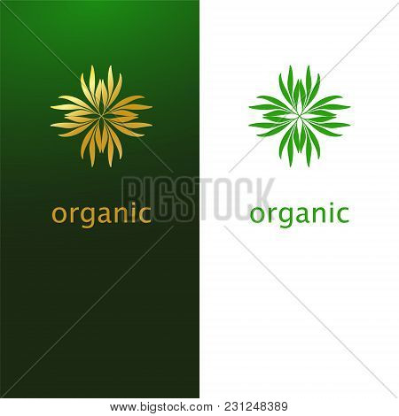 Abstract Flower Of Leaves Logo Icon Design. Elegant Golden Eco Symbol. Template For Creating Unique