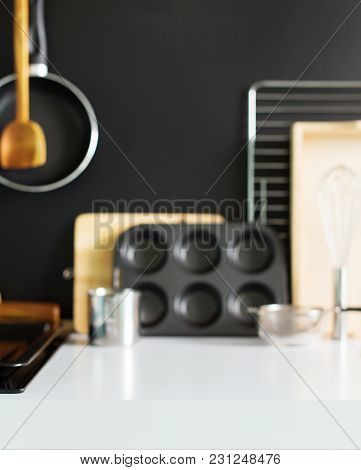 Defocused View Of Preparation Cooking Accessories Kitchen Composition Black Wooden Panel Dishes Ware