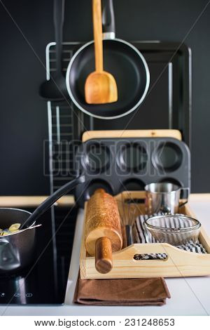 Composition With Kitchen Wooden Steel Accessories Black Wooden Panel Dishes Ware Different Support S