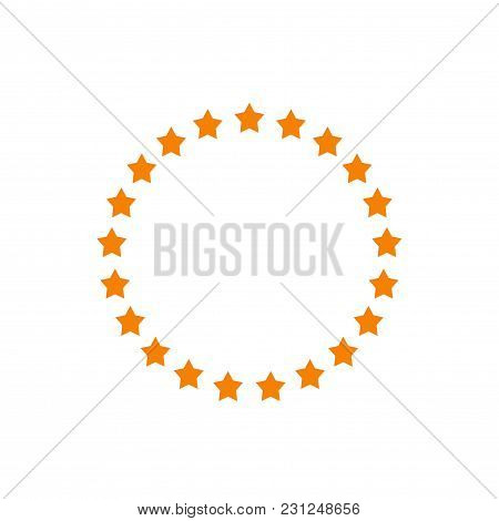Stars In Circle Shape Vector Illustration, Idea Of Round Star Decoration, Stamp Or Emblem Isolated O