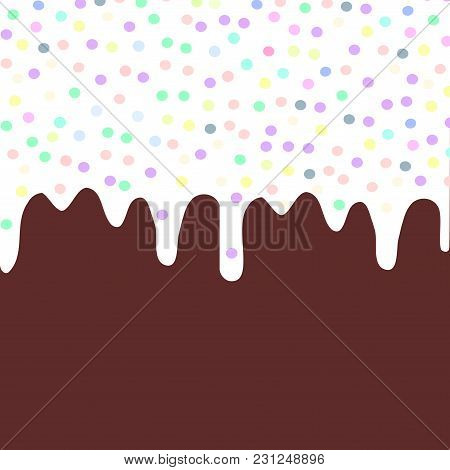 Brown Chocolate Waffles With Flowing White Sauce And Sprinkles Background For Your Text. Sweet Textu