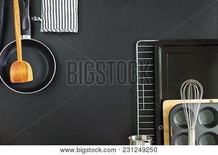 Flat Composition Black Chalkboard Panel With Kitchen Wooden Steel Accessories Dishes Ware Different