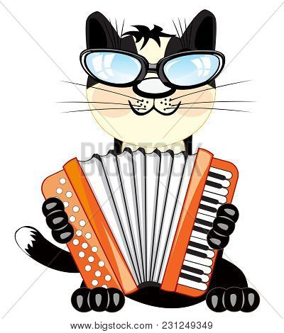 Cartoon Animal Cat Playing On Music Instrument Accordeon