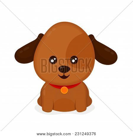 Funny Happy Cute Smiling Dog Puppy. Vector Flat Cartoon Character Illustration Icon. Isolated On Whi