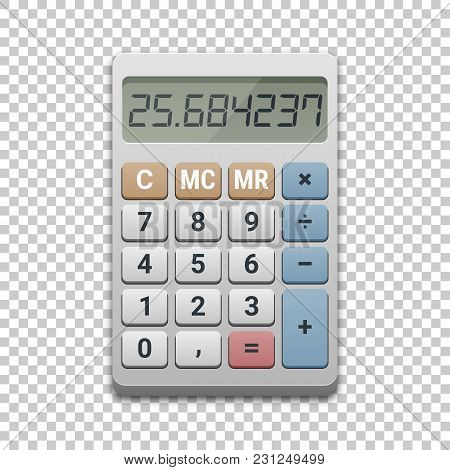 Calculator Icon, Vector Illustration On Transparent Background. Business, Finance, Taxes Or Science