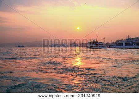 Istanbul, Turkey - March 26, 2012: Dawn Over The Bosphorus.