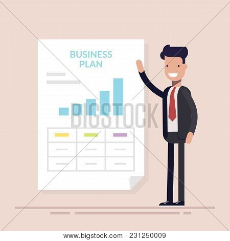 Businessman Or Manager Making Presentation Of Business Plan. Working Document. Flat Vector Illustrat