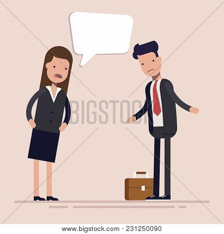 Businesswoman Boss Shouts At The Man Employee Or Manager. Gender Discrimination In The Workplace. Fl
