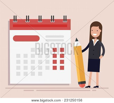 Businesswoman With Pen And Calendar. Planning And Scheduling Concept. Business Operations. Flat Vect