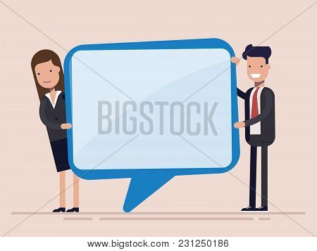 Businessman And Woman Hold Speech Bubble. Manager Or Worker. Flat Vector Illustration Isolated