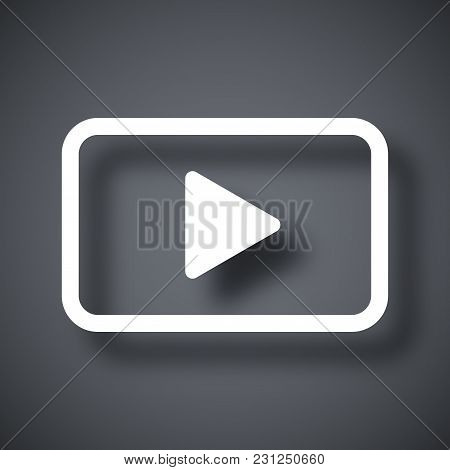 Vector Play Button Icon On Dark Gray Background With Shadow