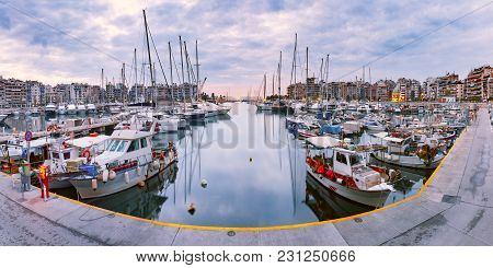 Piraeus Marina During Morning Blue Hour. The Port Of Piraeus, The Largest Greek Seaport And One Of T