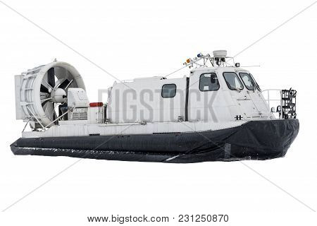 Boat Hovercraft Transport On White Background Isolated