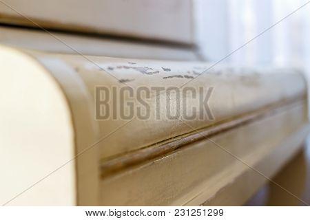White Piano Cover Close-up. White Piano Cover Close-up.