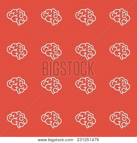 Brain Seamless Pattern On Red Background. Side View Of The Body Organ. Anatomy Sign. Scientific Medi