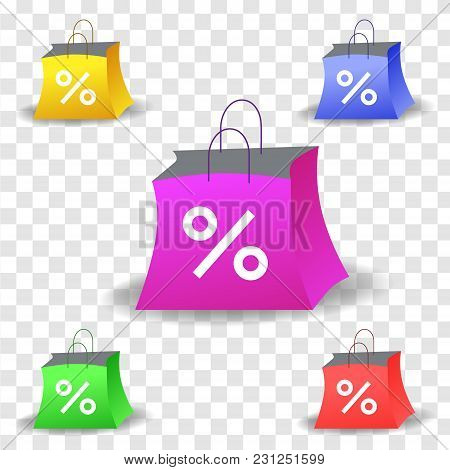 Vector Illustration In Realism 3d Style With Set Of Colorful Shopping Bags With Discount Sign