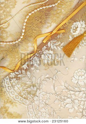 Golden textile wedding border