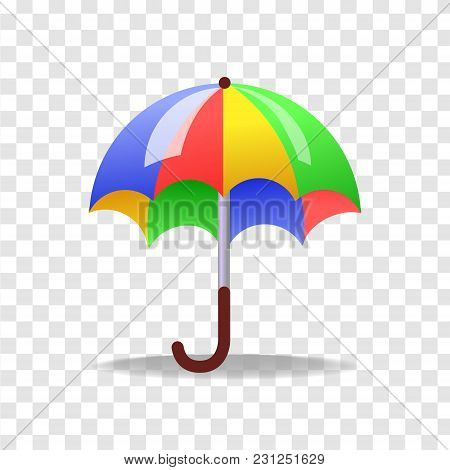 Vector Illustration In Realism 3d Style With Colorful Umbrella