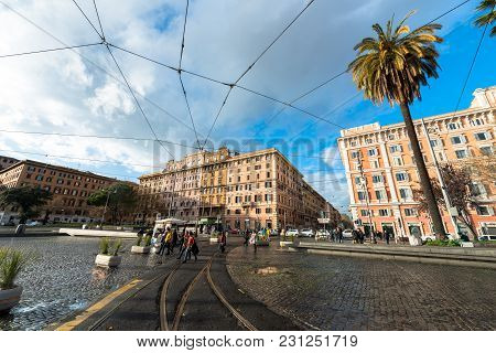 Vatican City, March 06, 2018: Horizontal Picture Of The Buildings In A Blue Sky Day In Vatican City,