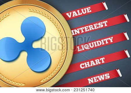 Background Of Ripple Cryptocurrency Infographic. Knowledge And Information Of Crypto-currency. Edita