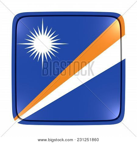 3d Rendering Of A Marshall Islands Flag Icon. Isolated On White Background.