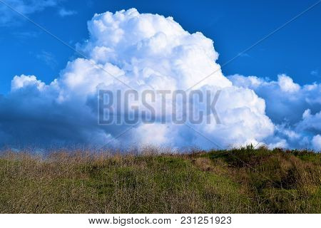 Lush Green Field On Rural Grasslands With Cumulus Storm Clouds Beyond Taken During Atmospheric Insta
