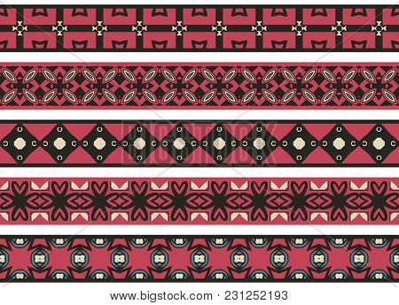 Set Of Five Illustrated Decorative Borders Made Of Abstract Elements In Beige, Green,pink, Turqoise