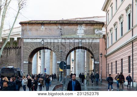 Vatican City, March 06, 2018: Horizontal Picture Of The Main Gate Of Vatican City, Italy