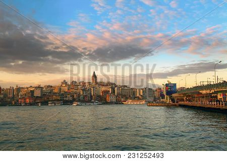 Istanbul, Turkey - March 28, 2012: Golden Horn Bay In The Evening.