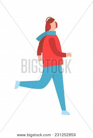 Woman In Earphones Running In Warm Winter Cloth Vector Illustration Isolated On White Background. Gi