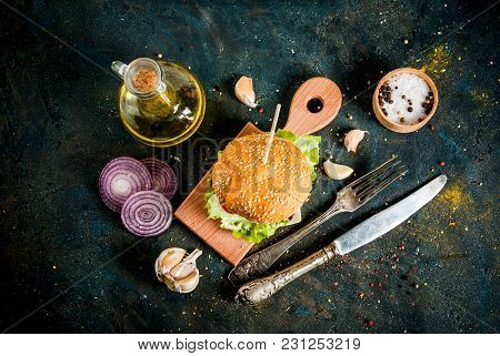 Fast Food. Unhealthy Food. Delicious Fresh Tasty Burger With Beef Cutlet, Fresh Vegetables And Chees