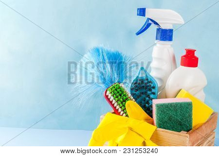 Spring Cleaning Concept With Supplies, House Cleaning Products Pile. Household Chore Concept, On Lig