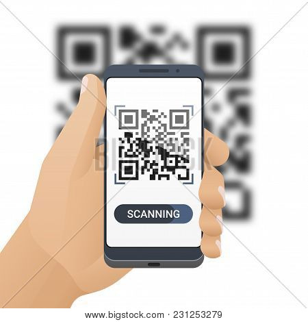 Smartphone In Man's Hand Scans Qr Code. Barcode Scanner Application On Smart Phone Screen And Blurre