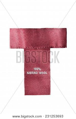 Composition Textile Red Clothes Label Isolated Over White