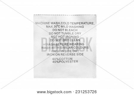 Content And Care Clothes Label Isolated Over White