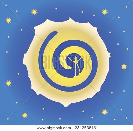 A Big Moon In The Night Starry Sky. Yellow Stars, A Dark Blue Sky. Man In The Moon. Vector Illustrat