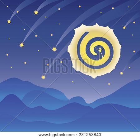 Night Landscape, Starry Dark Sky, A Big Moon And Falling Stars, A Mountain Landscape. Vector Illustr