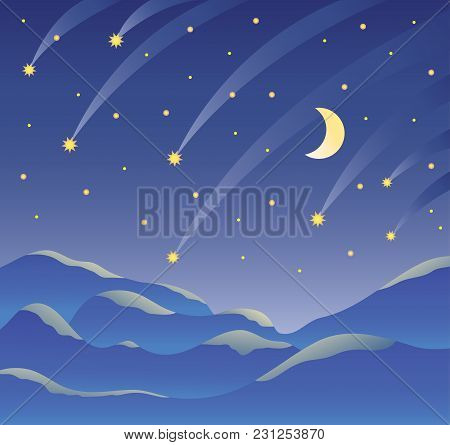 Night Landscape, Starry Dark Sky, Month And Falling Stars, Mountain Landscape. Vector Illustration