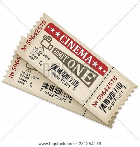 Retro Stylized Cinema Tickets. Admission Tickets Isolated On White Background. Vector Illustaration