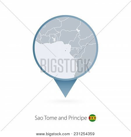 Map Pin With Detailed Map Of Sao Tome And Principe And Neighboring Countries.
